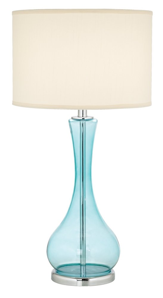 Pacific Coast Lighting 87 1667 64 The Blue Martini 1 Light Table Lamp, Teal  Blue Clear Glass Base With White Fabric Shade     Amazon.com