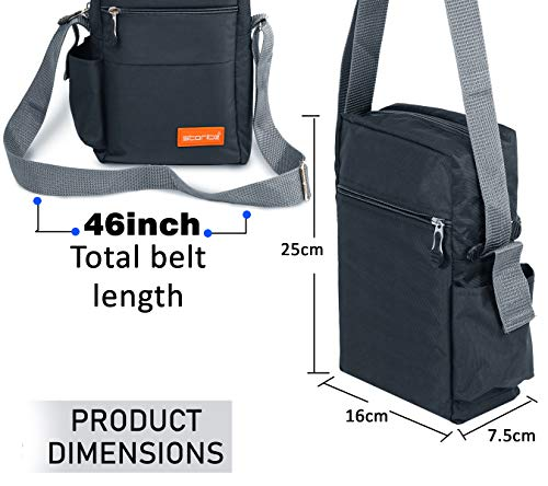 Storite Stylish Nylon Sling Cross Body Travel Office Business Messenger one Side Shoulder Bag for Men Women (25x16x7.5cm) (Dark Grey) 4