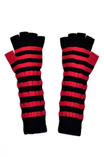 LL Womens Warm Winter Arm Warmer Knit Fingerless Long Gloves 5 Half Fingers (Red Stripe)