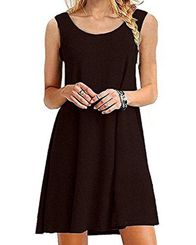 Women's Sleeveless Casual Loose T-Shirt Summer Dresses Tank Sundress Plus Size Dress GABREBI (Plus Size Stores)