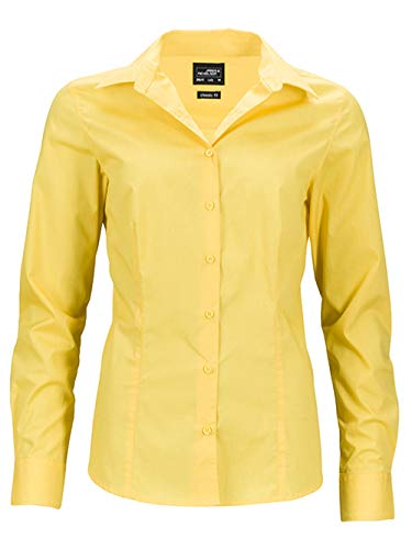 Camisa Casual larga de Blusa manga Blusa Trabajo oficina de 2store24 Mujer Amarillo dFgwdx