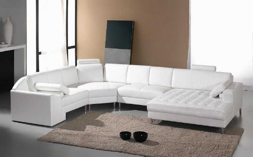 Vig Furniture Monaco White Leather Sectional Sofa #2236 (Ottoman Monaco)