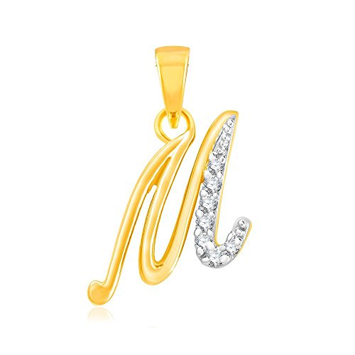 "Kaizer Economica Alphabet Collection Initial Letter ""M"" Gold and Rhodium Plated with Diamond Sparkle"