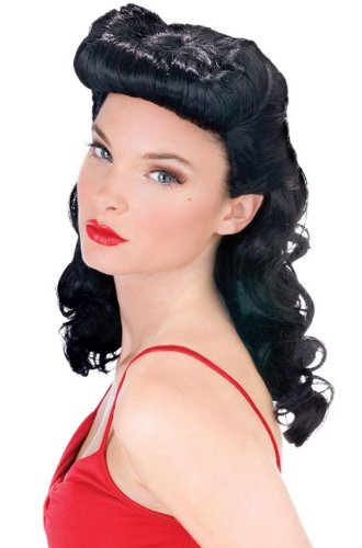 Fun World Women's Burlesue Beauty Wig, Black, Standard -