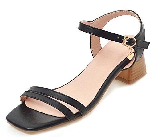 Aisun Women's Comfy Buckles Medium Chunky Heels Sandals Black RHY9x8