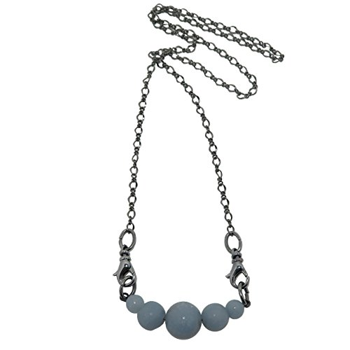 Angelite Necklace Boutique Glacier Blue Gemstone Gunmetal Chain Angelic Crystal Healing Handmade Cooling Cloud B03 (20