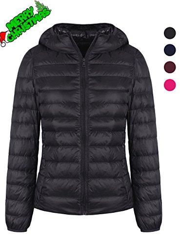 Zity Water Repellent Down Jacket Womens Hooded Warm Slim Fit Coat Black Us Xs