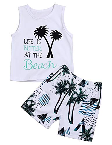- Infant Baby Boys Clothes Beach Vest T-Shirt and Palm Short Pant Summer Outfit Set(18-24 Months) White