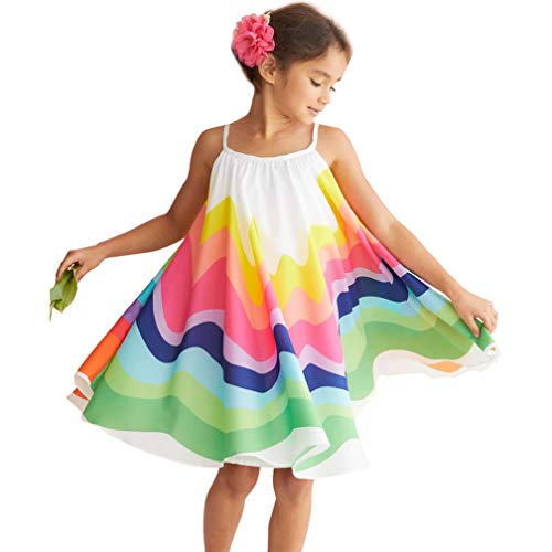 Kids Baby Girls Princess Dress Spaghetti Strap Sleeveless Sling Chiffon Summer Rainbow Beach Party Casual Swing Tutu Dress (Colorful, 4-5 Years)