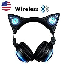New Edition Wireless Bluetooth Cat Ear Headphones (8 Color Changing) Set with Headphone Mic Audio Y Splitter Cable Smartphone Headset to PC Adapter