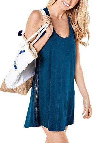 Ecrocoo Women Mesh Side Racerback Tunic Tank Dress Swimsuit Bikini Beach Coverup Blue US12-14 Large