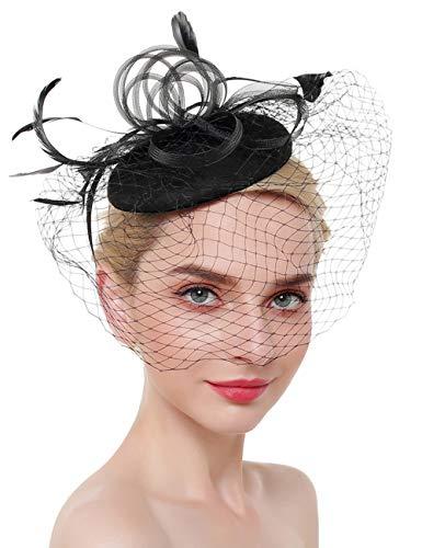 (XXXITICAT Women's Feather Veil Mesh Fascinator Derby Hat Wedding Bride Headwear Cocktail Headdress Cap Fishnet)