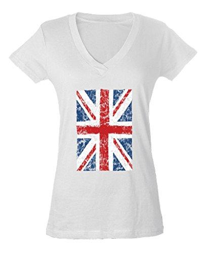 Vintage Union Label (UK Flag England Ladies V-Neck T-shirt Union Jack Vintage United Kingdom Shirts Medium White f12)