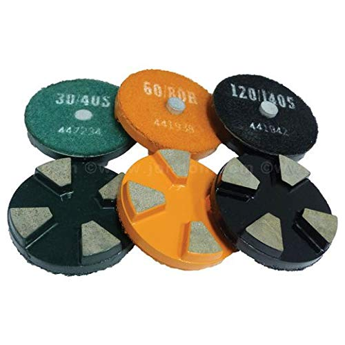 4 Segment, First Cut Standard Grade Ceramic Bond Diamond Tooling for Hard Concrete, 3, with Boss, 60/80 Grit (2 Units)