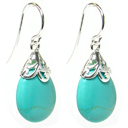 Synthetic Turquoise Teardrop Sterling Silver Filigree Flower Bail and French Hook Earwires Dangle Earrings