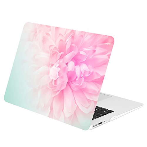 "TOP CASE - Air 13-Inch Floral Pattern Rubberized Hard Case for Macbook Air 13"" Model: A1369 / A1466 - Pink Peony on Turquoise Base"