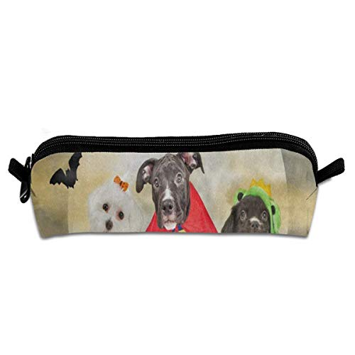 MISSMORN Pencil Case Bag Hipster Puppy Dog Dressed in Halloween Costumes Pen Organizer Pouch Holder Protective Storage Container Perfect Gift for Students & Artist