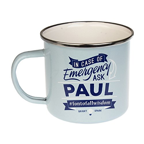 Paul, Large Camping Coffee Mug, Enamel, 14 oz, Multi-Colored, Light-Weight, Retro Inspired for Men