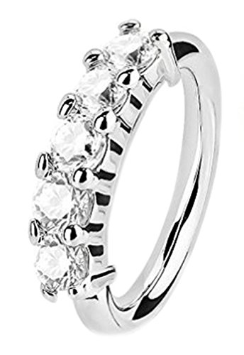 Greendou Elegant Fashion Jewelry Small Thin 5 Clear Crystal Nose Ring Stud Hoop-Sparkly Crystal Nose Ring (Silver)