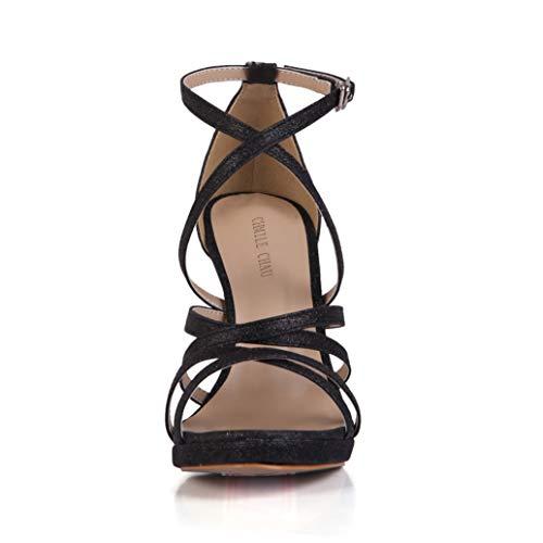cinturino Donna scarpe Spillo Nero b Chau eleganti piattaforma nuziale sandali Chmile Da partito Tacco A Caviglia Alla 1cm Alto sposa moda wS6WqFCx