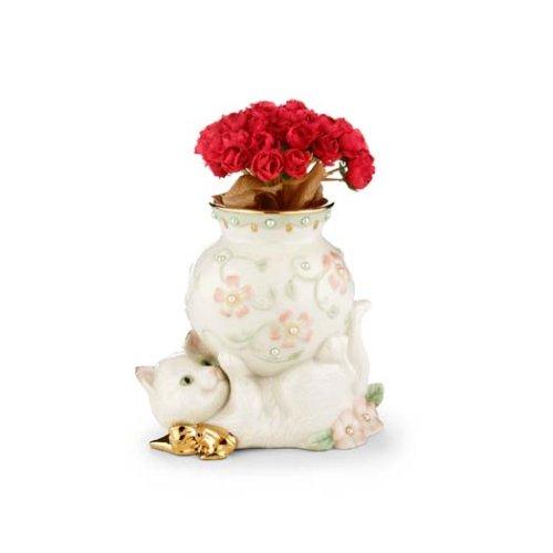 - Lenox Petals & Pearls Cat Bud Vase with Flowers