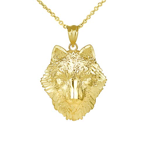 Fine 14k Yellow Gold Tribal Wolf Head Charm Pendant Necklace, 20