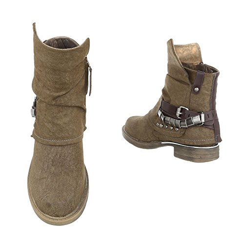 Ital-Design - botas estilo motero Mujer caqui