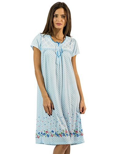 Casual Nights Women's Fancy Lace Flower Short Sleeve Nightgown - Dots/Blue - XX-Large ()