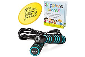 The Perfect Set for Fun & Easy Jumping: Tangle-Free Adjustable Jump Rope - Non-Slip Handles - for Kids and Adults - Plus Skipping Song Book and Flying Disc - Lifetime Refund Guarantee
