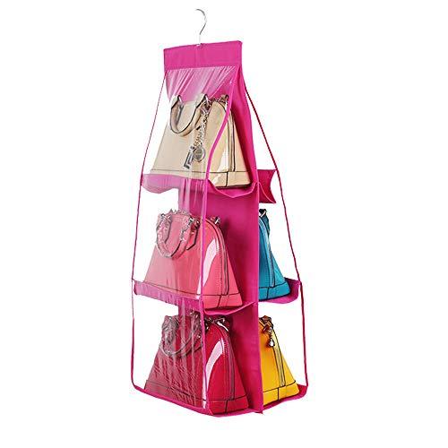 MOPOLIS 6 Pockets Clear Hanging Purse Handbag Tote Bag Storage Organizer Closet Rack Bag (Color - Rose red)