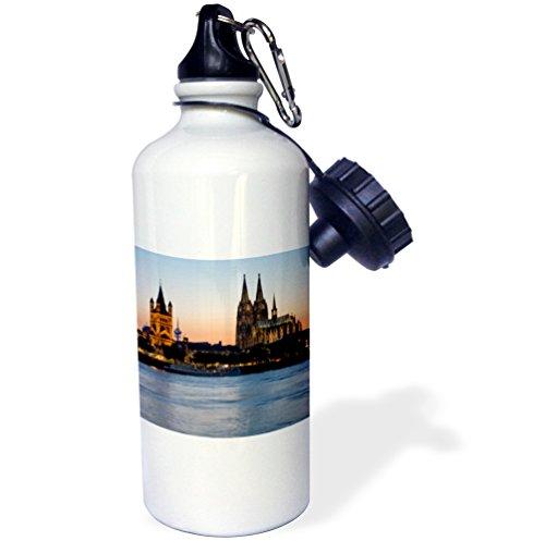 3dRose wb_81778_1 ''Cologne skyline, Rhine, Gross St Marin, Dom, Germany EU10 DBN0038 David Barnes'' Sports Water Bottle, 21 oz, White by 3dRose