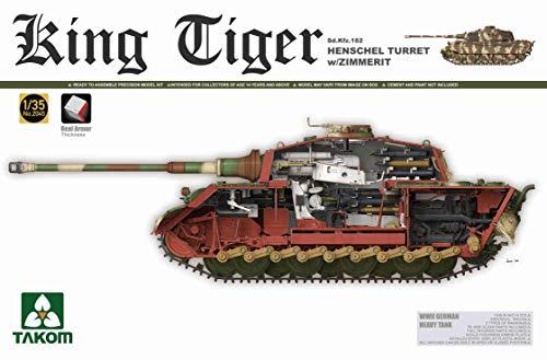 Takom 2045S WWII German Heavy Tank Sd.Kfz.182 King Tiger Henschel Turret w/Zimmerit 1/35 Scale Tank Model Kit - 2018 Updated ()