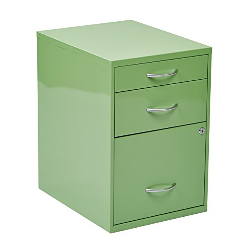 "3 Drawer Vertical Filing Cabinet Made w/ Metal in Green Finish 21.25"" H x 14.5"" W x 18.25"" D in."
