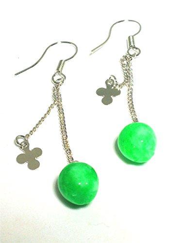 yigedan Natural Green Apple Emerald Pendant 925 Silver Earrings