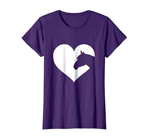 Horse Print Shirt - Womens Horse lover T-Shirt gift for girls & women who love horses Large Purple