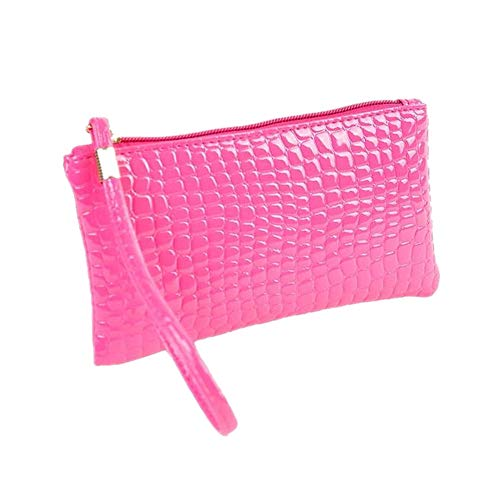 Hot Coin Women Bag Women Purse Crocodile Purse Leather Kinrui Clutch Pink Handbag O81vxBnZ