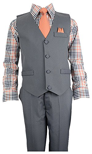 Vittorino Boys 4 Piece Suit Set with Vest Shirt Tie Pants and Hankerchief,2T,Charcol Vest--multicolor Shirt--orange (Suits For Kids Online)