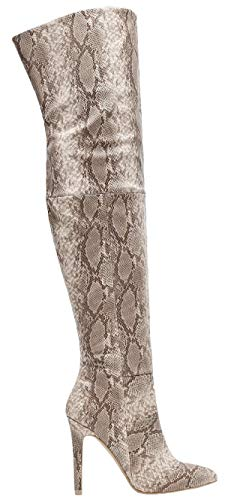 Mackin J 141D-18 Over Knee Thigh High Snake Skin Python Pointed Toe Stiletto Heel Boots Gray (10, ()