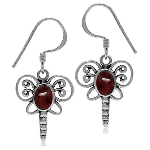 Garnet Dragonfly Ring - Silvershake Rhodolite Garnet 925 Sterling Silver Dragonfly Dangle Hook Earrings