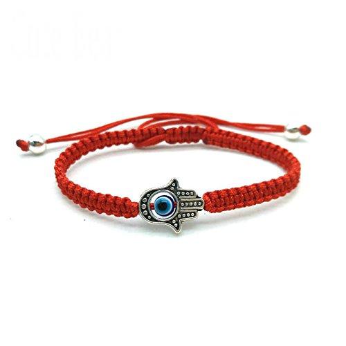 Treasure4U-store Braided Red String Kabbalah Bracelet Rotating Evil Eye Lucky Hamsa Hand Protection Amulet Adjustable ()