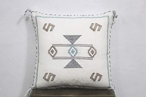 Archana Arts and Crafts White Color Cactus Silk Inspired Handmade Linen Pillow Cushion Moroccan Silk Pillow Cover Cushion Couch Pillow Sofa Pillow Cover 20X20 Pillow