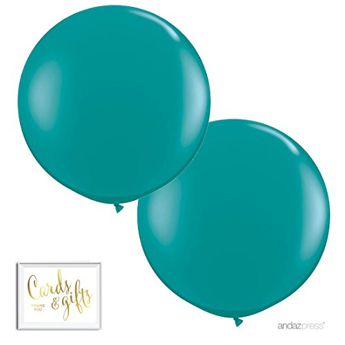Andaz Press 3-Foot Huge 36-inch Latex Balloon Party Kit with Gold Cards & Gifts Sign, Aqua Turquoise, 2-Pack, for Peacock Graduation Themed Decorations