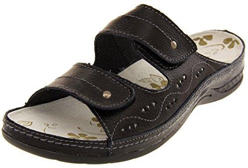 Funda de piel para mujer Velcro enfriadores de planas Sz y pedrería para mujer traje de neopreno para mujer zapatos de tamaño de la funda de 4 5 6 7 8 negro - negro