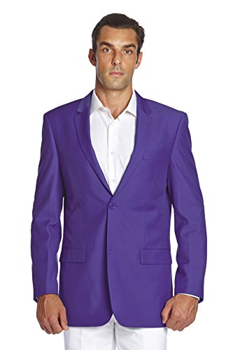 Top CONCITOR Men's Suit Jacket Separate Blazer Coat Solid PURPLE INDIGO Two Button free shipping