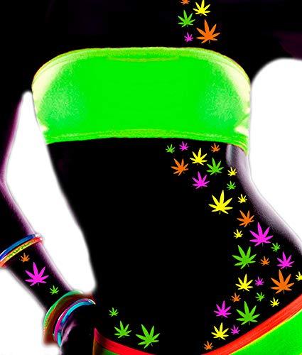 Sasswear Blacklight Weed Body Stickers - 40/pk - Neon (Weed Leaf Neon)