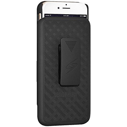 Amzer Shellster Schutzhülle und Holster mit ausklappbarem Ständer für iPhone, 6, Plus, schwarz