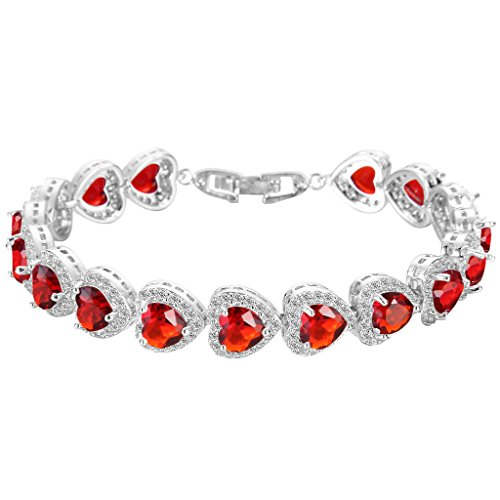 ever faith heart gorgeous roman slp amazon red color tone silver bracelets july shaped com cz ruby tennis bracelet birthstone
