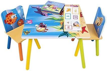 Woltu Sg003 Set Mobili Tavolo E Sedie Per Bambini Gioco Tavolino Con 2 Sgabelli Soggiorno Design Oceano In Legno Amazon It Casa E Cucina