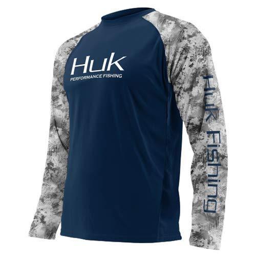 Huk Subphantis Double Header Vented Long Sleeve Shirt, Navy/SubPhantis SubZero, Large