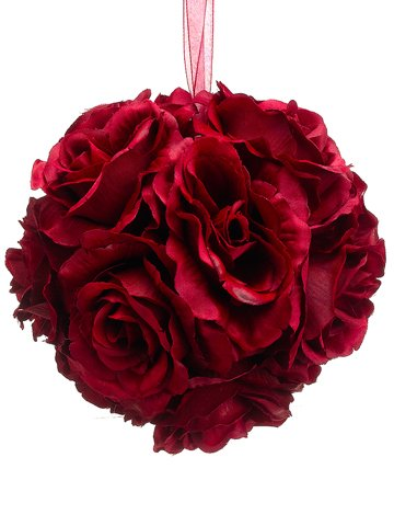 Silk Plants Direct Rose Kissing Ball (Pack of 6) - (Potted Rose Topiary)